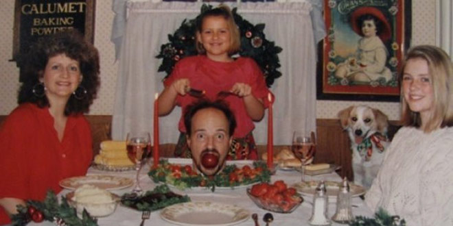 41 Funny Christmas Photos ~ family Christmas card, serving dad's head for dinner