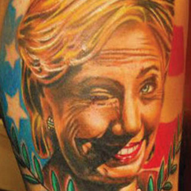 A Drunk Winking Hillary Getting the Last Laugh ~ Hillary Clinton Tattoo