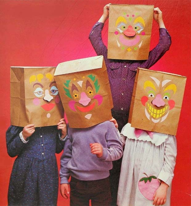Funny crafts ad from 1980s ~ kids wearing paper bags decorated with faces over heads