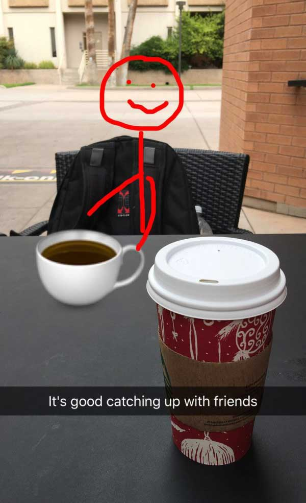 Catching up with old friends ~ funny snapchat humor