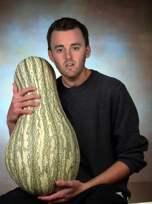 For Austin Dillon's senior pic, he chose to pose with his prom date, Miss Squashy ~ funny nascar driver yearbook photos