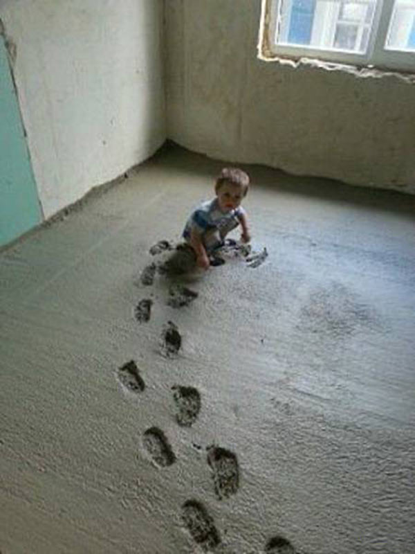 Kids are Crazy~ Baby playing in wet cement ~ 35 Funny Pics & Memes