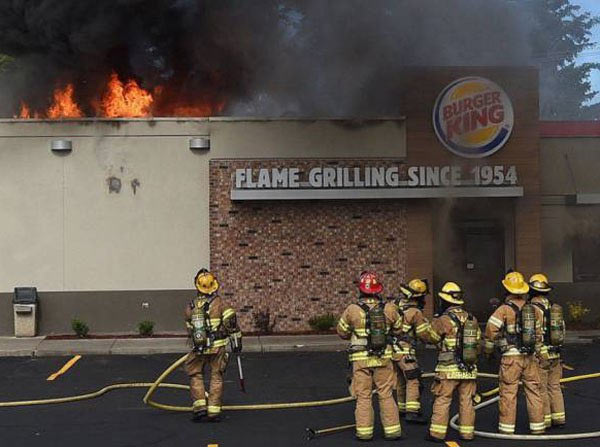How ironic ~ Burge King on Fire, flame grilling ~ 35 Funny Pics & Memes