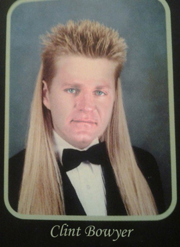 Clint Bowyer rockin' the senior year mullet that changed the world ~ Funny nascar yearbook photos