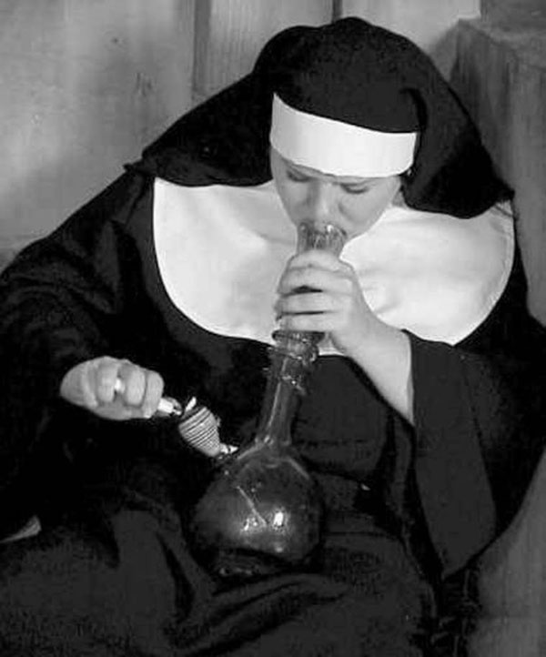 Happy 4/20! nun smoking a bong