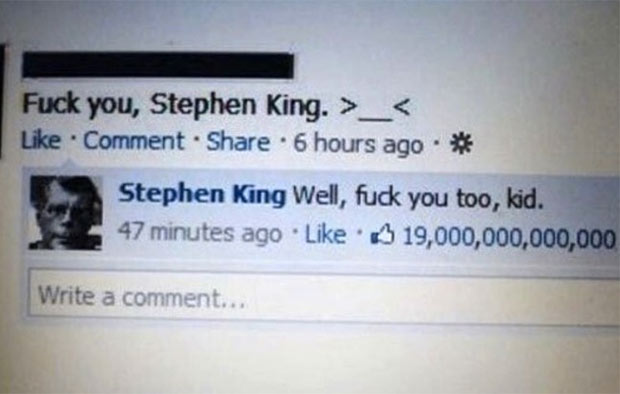 Hilarious Stephen King Facebook comeback