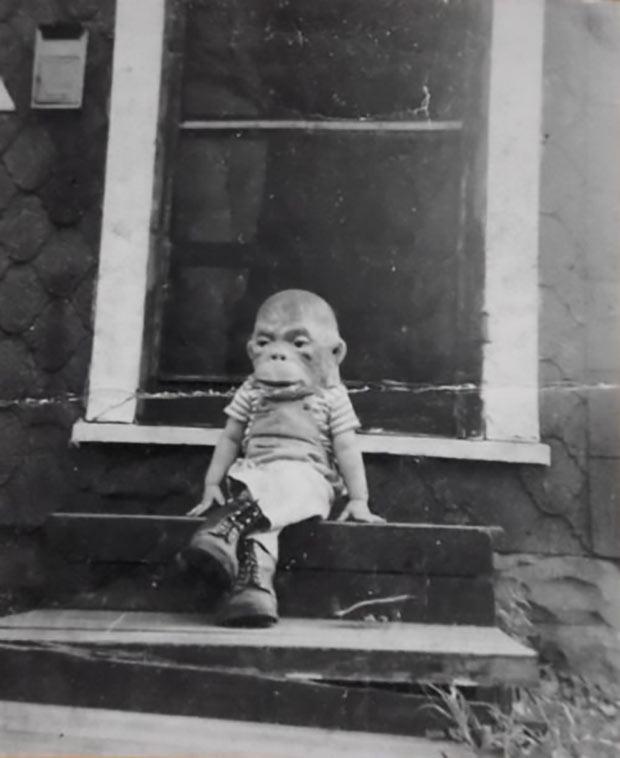 scary ape baby ~ old creepy photos