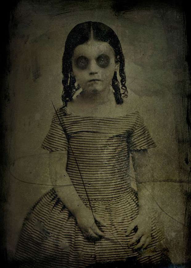 portrait of button-eyed girl ~ old creepy photos