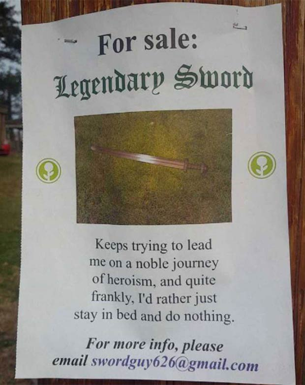 For Sale by the Cousin of Zelda... ~~ 37 funny pics & memes... funny for sale flyer