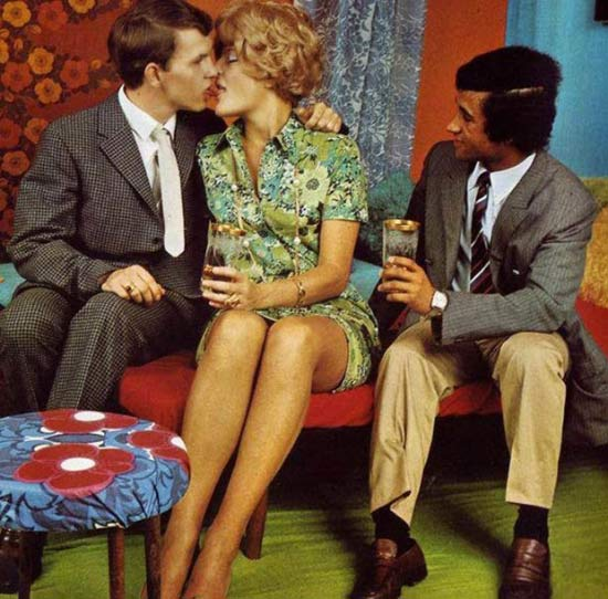 Larry... Always the third wheel.... ~~ 37 funny pics & memes vintage 1960s snapshot couple making out looking on c