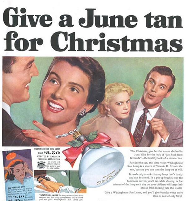 """""""Merry Christmas! Here's a lightbulb. Screw it in, Turn'em on! ~ Sexist ads vintage and new"""
