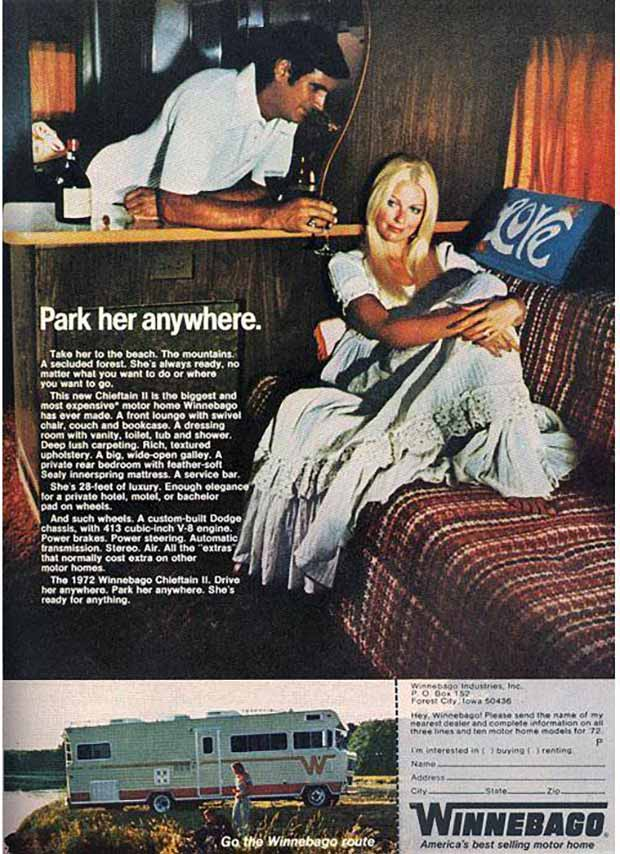 Anywhere, Anytime. She's always ready ~ Sexist ads vintage and new ~ Winnebago