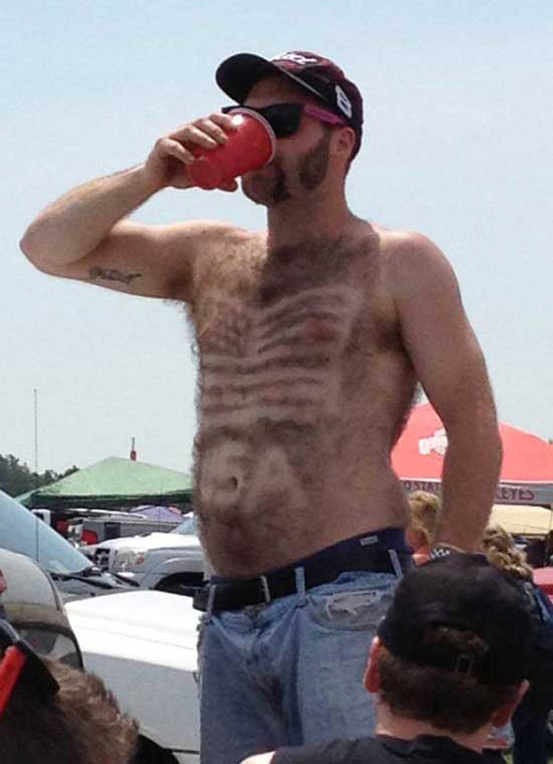 God Bless the U.S. of A.... ~ Awkwardly funny family photos American flag shaved in chest hair