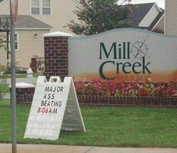 The Weekly Mill Creek Masochists Meeting ... funny signs