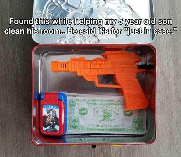 It's good to be prepared. 5-year-old son's lunchbox packed with toy gun, money, cell phone, just in case