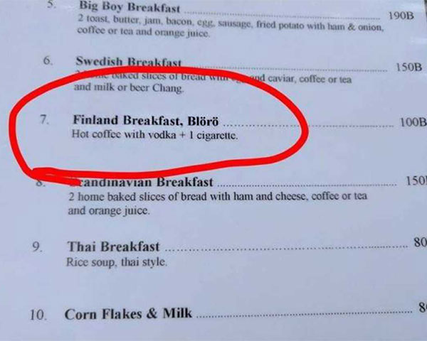 Classic Finland Breakfast ~ hot coffee with vodka and one cigarette