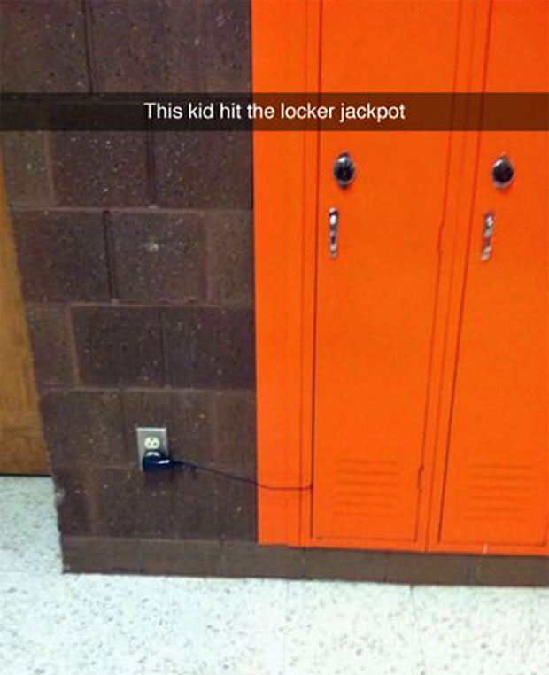 Funniest Snapchats ~ locker jackpot, charging phone electrical outlet