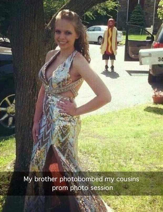Funniest Snapchats ~ prom picture photobomb brother hot dog costume
