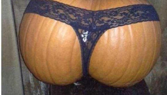Funny Halloween Pumpkin, looks like butt, wearing thong, jack-o-latern
