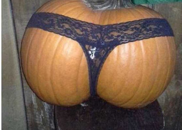 Funny Halloween Pumpkin, looks like butt, wearing thong, jack-o-latern