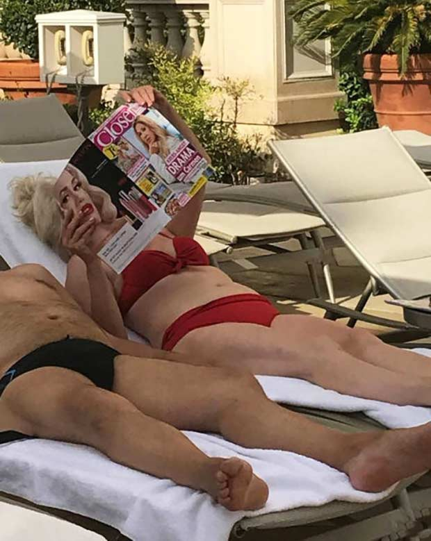 perfectly timed, woman sun bathing magazine ad matching her face