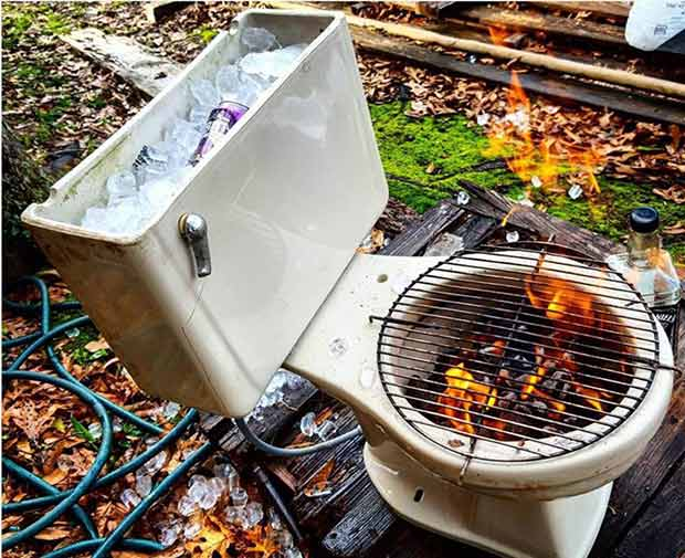 Classic Redneck Engineering ~ Toilet Grill Cooler