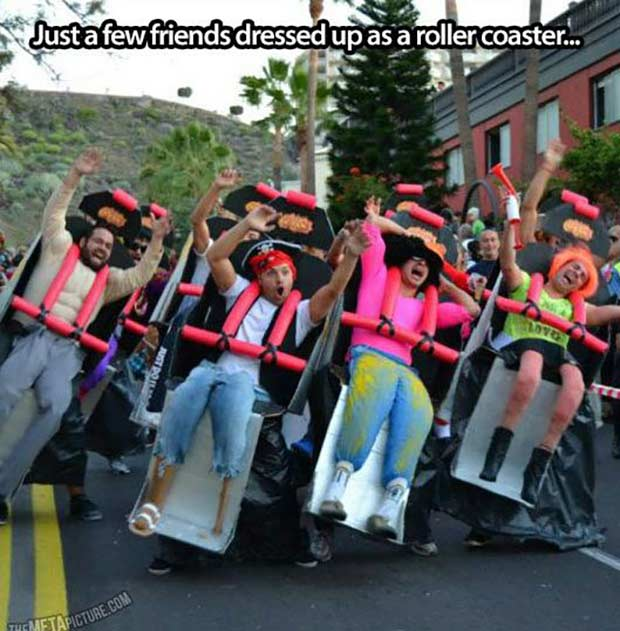 Friends dressed up as rollercoaster ride ~ Best Halloween Costumes