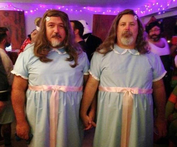 The Shining Twins ~ Funny Halloween Costumes men dressed as twins