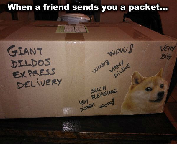 Mail package with graffiti - giant dildos inside ~ Funny Memes
