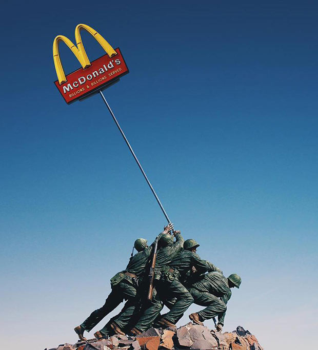 Tony Futura collage ~ Marines raising McDonald's sign over Iwo Jima ~ W.W. II