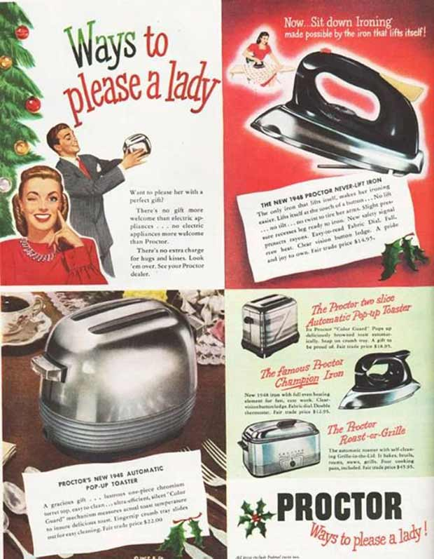 Vintage Sexist Advertising ~ Christmas gifts for housewife ~ Toaster! Iron! Appliances!