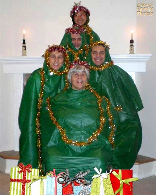 What do you do with extra trash bags? ~ Funny Family Christmas card ~ family dressed as Christmas tree