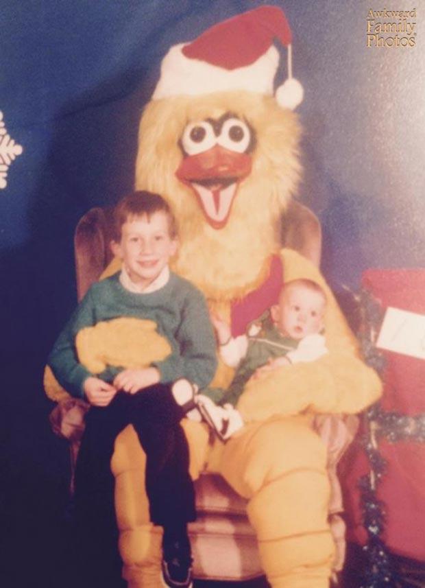 Santa Chicken? ~ Funny Family Christmas Photos ~ sitting on Santa's lap