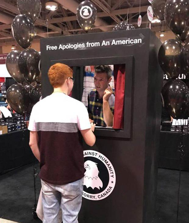 Free Apologies from an American Booth. Funny Stuff!