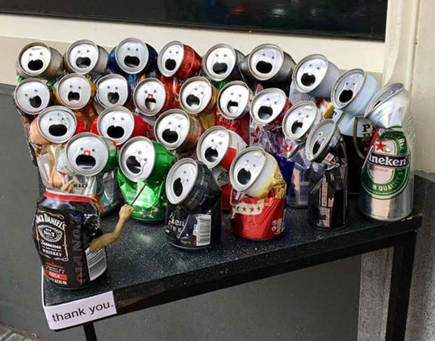 SING IT! ~ Crushed soda cans with google eyes that look like a chorus