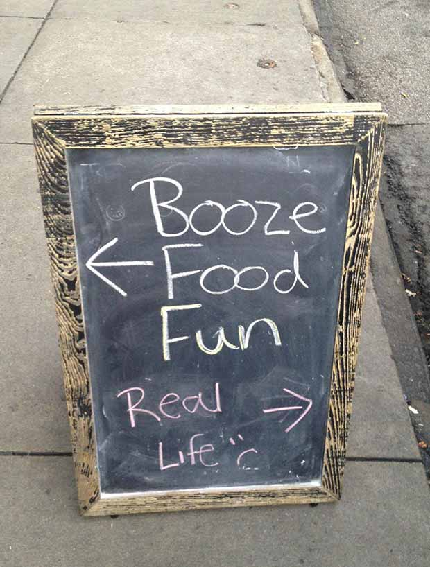 Avoid real life at all cost ~ Funny Sidewalk Signs