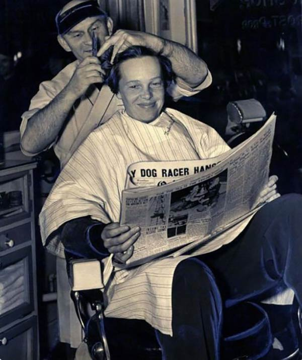 Amelia Earhart receives what proved to be her last haircut in 1937. And a stylish one indeed.