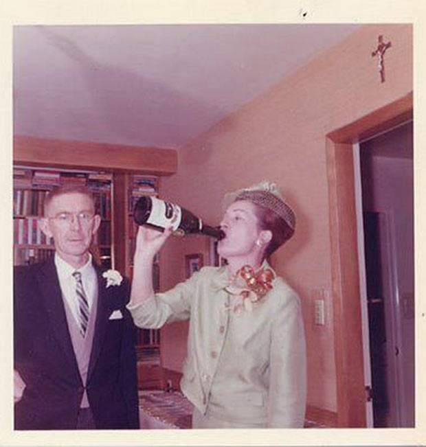 "Doris firmly believed in ""priming the pump"" before heading out … ~.~ … Awkward funny family photos, vintage snaps, woman chugging champagne"