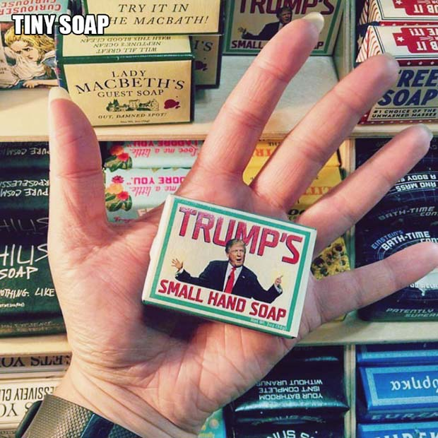 Trump's Small Hand Soap ~ 18 Best Christmas Gifts for Trump Lovers and Haters