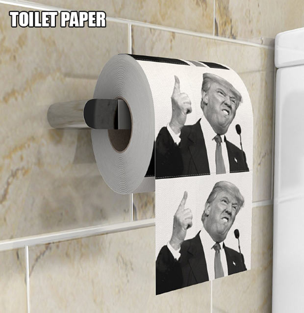 Trump Face Toilet Paper ~ 18 Best Christmas Gifts for Trump Lovers and Haters