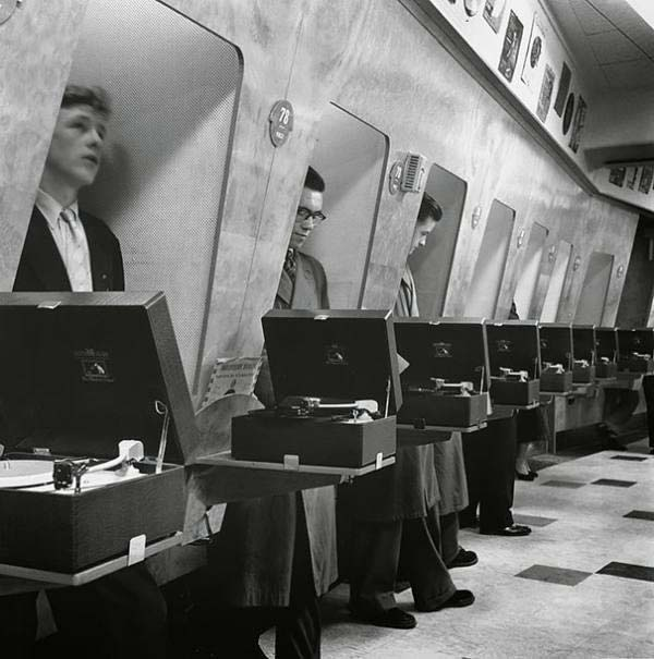 Customers at a London record shop in 1955.