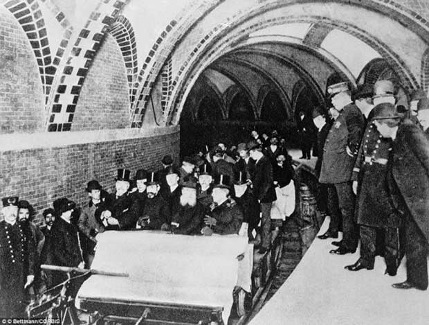 The first passengers aboard the brand-new New York subway system in 1904.