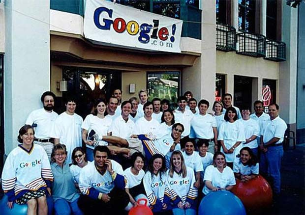 The start of Google team, outside of their first headquarters. Not sure what year. I guess you could Google it.