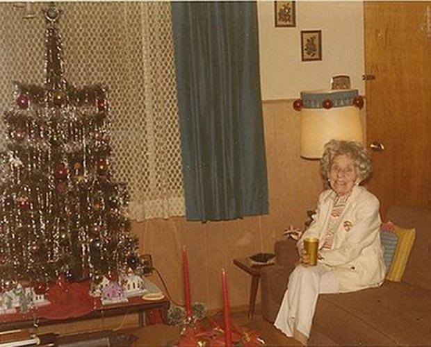 Grandma Tillis and her favorite Christmas companion... Scotch. ~ Family Christmas Photos ~ old vintage  pics 1970s