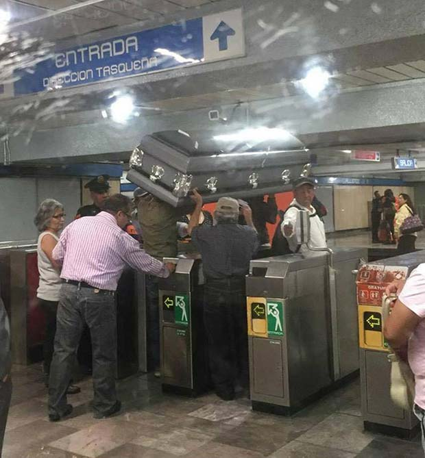 The Final Ride ... ... ~.~ funny pics, funniest memes... carrying casket in subway
