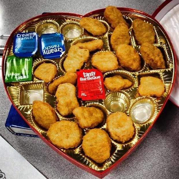 Nothing says I love you more than a heart full of nuggets ..~.. Perfect Valentines Day Gift ~ funny pics, funniest memes