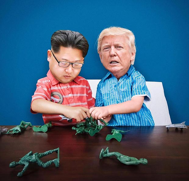 Baby boy Trump and Kim John un playing with army men toys ~~~~~ funny pics, best memes