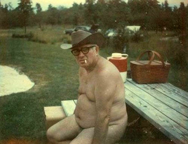 As usual, Harold was the sole attendee at the annual Hedonistic Weekend at Wamplers Lake. ~.~ funny awkward family vintage photos, naked grandpa picnic table
