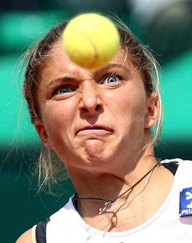 Keep your eye on the ball! ~.~satisfying perfectly time photos tennis ball in face