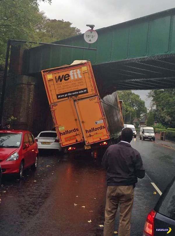 Truck fail we fit truck stuck under bridges hit happens